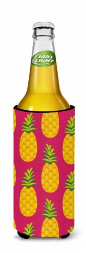 Pineapples on Pink Michelob Ultra Hugger for slim cans Perspective: back