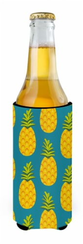 Pineapples on Teal Michelob Ultra Hugger for slim cans Perspective: back