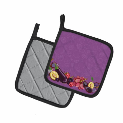 Fruits and Vegetables in Purple Pair of Pot Holders Perspective: back