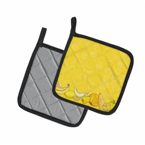Fruits and Vegetables in Yellow Pair of Pot Holders Perspective: back