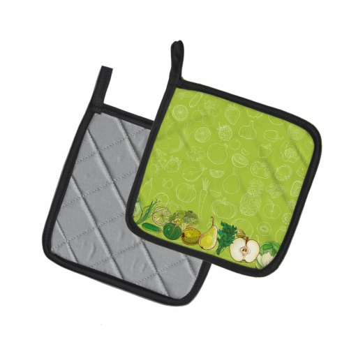 Fruits and Vegetables in Green Pair of Pot Holders Perspective: back