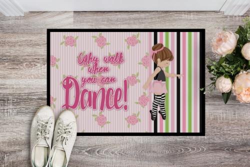 Ballet Dance Stripes Brunette Indoor or Outdoor Mat 24x36 Perspective: back