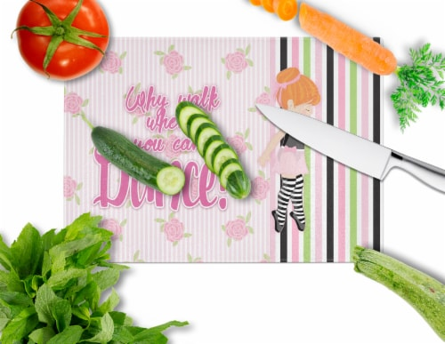 Ballet Dance Stripes Red Hair Glass Cutting Board Large Perspective: back