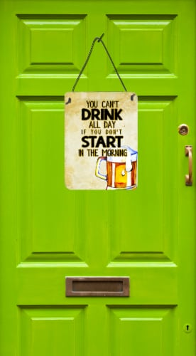 Start Drinking in the Morning Beer Wall or Door Hanging Prints Perspective: back