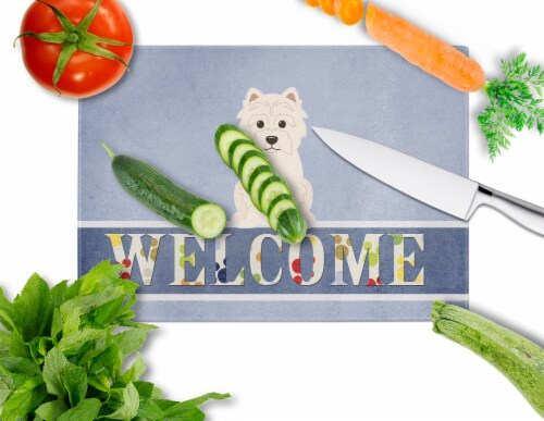 Carolines Treasures  BB5623LCB Westie Welcome Glass Cutting Board Large Perspective: back