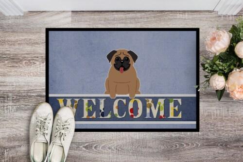 Carolines Treasures  BB5586MAT Pug Brown Welcome Indoor or Outdoor Mat 18x27 Perspective: back