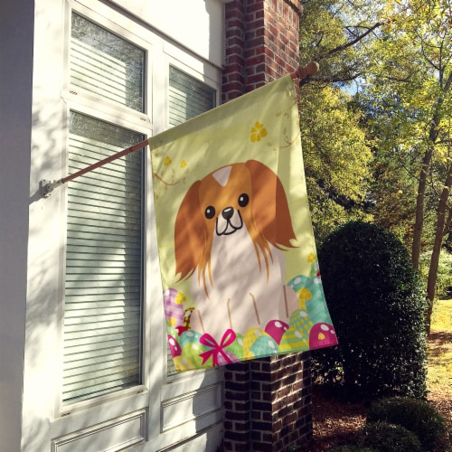 Easter Eggs Pekingnese Red White Flag Canvas House Size Perspective: back
