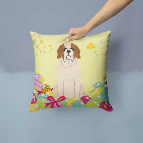Easter Eggs Saint Bernard Fabric Decorative Pillow Perspective: back