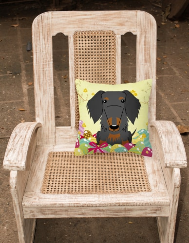 Easter Eggs Wire Haired Dachshund Black Tan Fabric Decorative Pillow Perspective: back