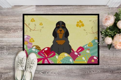 Easter Eggs Cocker Spaniel Black Tan Indoor or Outdoor Mat 24x36 Perspective: back