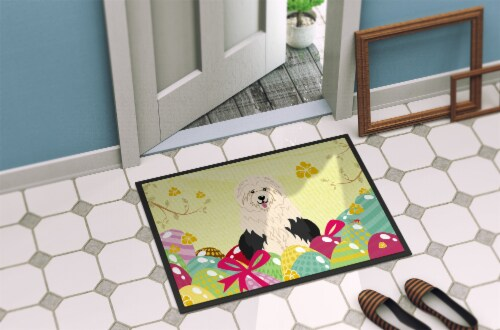 Easter Eggs Old English Sheepdog Indoor or Outdoor Mat 24x36 Perspective: back
