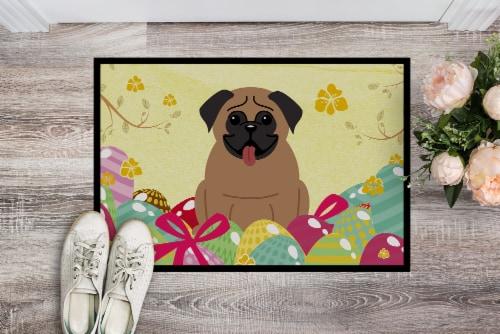 Carolines Treasures  BB6005MAT Easter Eggs Pug Brown Indoor or Outdoor Mat 18x27 Perspective: back