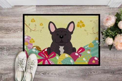 Easter Eggs French Bulldog Brindle Indoor or Outdoor Mat 18x27 Perspective: back