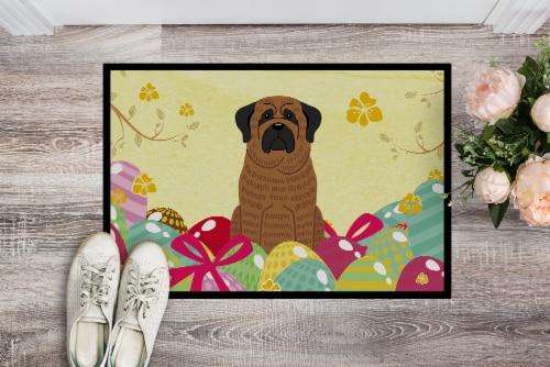 Easter Eggs Mastiff Brindle Indoor or Outdoor Mat 18x27 Perspective: back