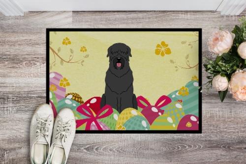 Easter Eggs Black Russian Terrier Indoor or Outdoor Mat 18x27 Perspective: back
