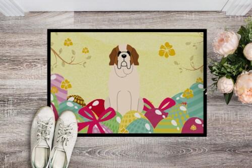 Easter Eggs Saint Bernard Indoor or Outdoor Mat 18x27 Perspective: back