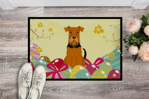 Carolines Treasures  BB6041MAT Easter Eggs Airedale Indoor or Outdoor Mat 18x27 Perspective: back
