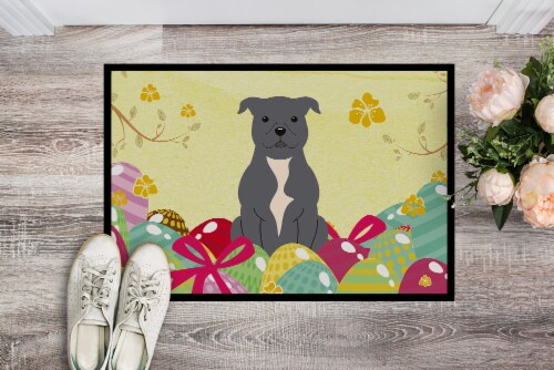 Easter Eggs Staffordshire Bull Terrier Blue Indoor or Outdoor Mat 18x27 Perspective: back
