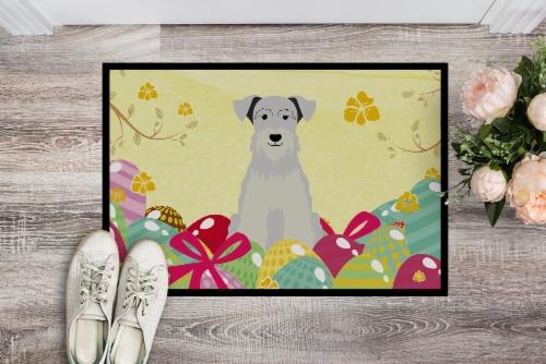 Easter Eggs Miniature Schanuzer White Indoor or Outdoor Mat 18x27 Perspective: back