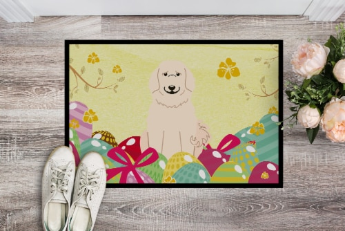 Easter Eggs Great Pyrenese Indoor or Outdoor Mat 18x27 Perspective: back