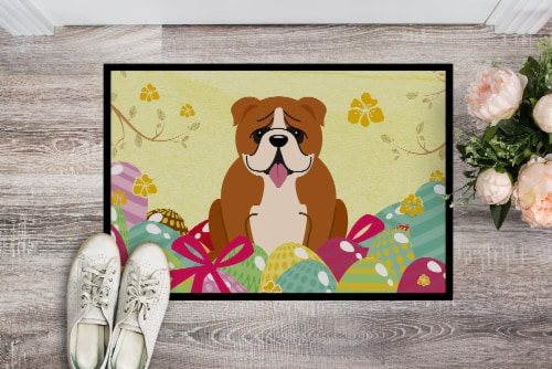 Easter Eggs English Bulldog Red White Indoor or Outdoor Mat 18x27 Perspective: back