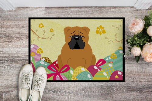 Easter Eggs English Bulldog Red Indoor or Outdoor Mat 18x27 Perspective: back