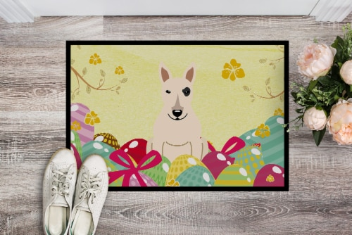 Easter Eggs Bull Terrier White Indoor or Outdoor Mat 18x27 Perspective: back