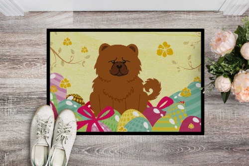 Easter Eggs Chow Chow Red Indoor or Outdoor Mat 18x27 Perspective: back