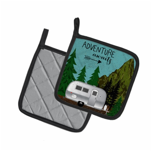 Airstream Camper Adventure Awaits Pair of Pot Holders Perspective: back