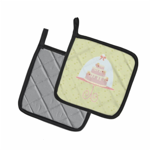 Carolines Treasures  BB7306PTHD Decorated Cake on Green Pair of Pot Holders Perspective: back