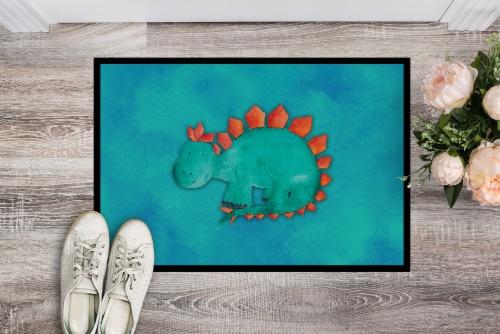 Stegosaurus Watercolor Indoor or Outdoor Mat 24x36 Perspective: back
