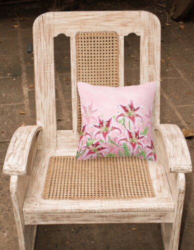 Carolines Treasures  BB7446PW1818 Pink Lillies Fabric Decorative Pillow Perspective: back