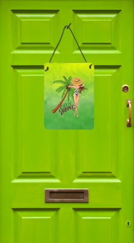 Hello Summer Lady in Swimsuit Wall or Door Hanging Prints Perspective: back
