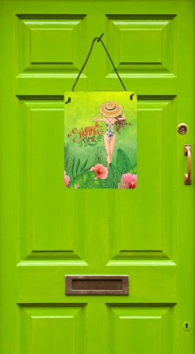 Summer Time Lady in Swimsuit Wall or Door Hanging Prints Perspective: back