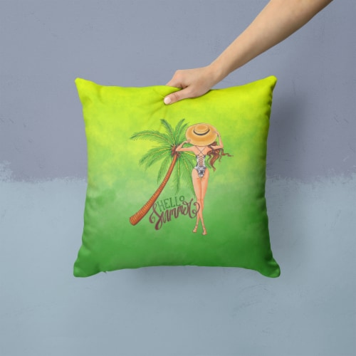 Hello Summer Lady in Swimsuit Fabric Decorative Pillow Perspective: back