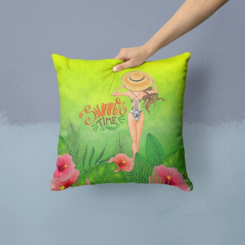 Summer Time Lady in Swimsuit Fabric Decorative Pillow Perspective: back