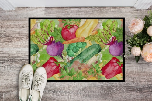 Watercolor Vegetables Farm to Table Indoor or Outdoor Mat 24x36 Perspective: back