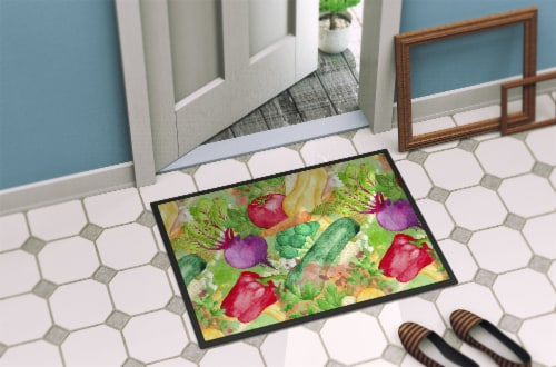 Watercolor Vegetables Farm to Table Indoor or Outdoor Mat 18x27 Perspective: back