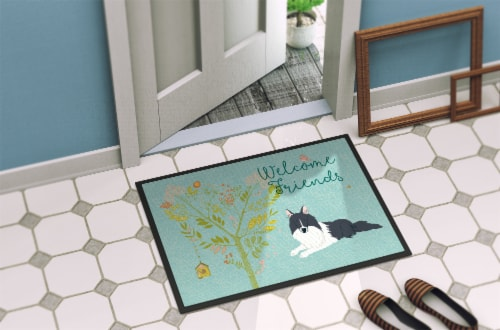 Welcome Friends Black White Collie Indoor or Outdoor Mat 24x36 Perspective: back