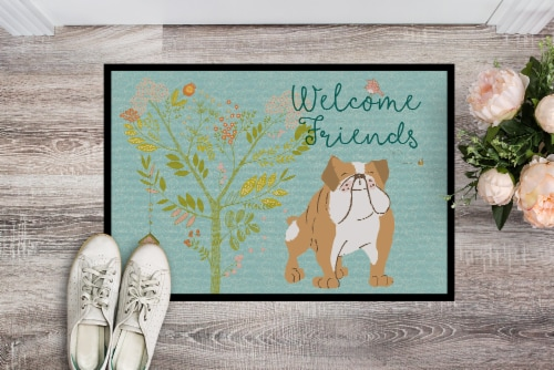 Welcome Friends English Bulldog Indoor or Outdoor Mat 24x36 Perspective: back
