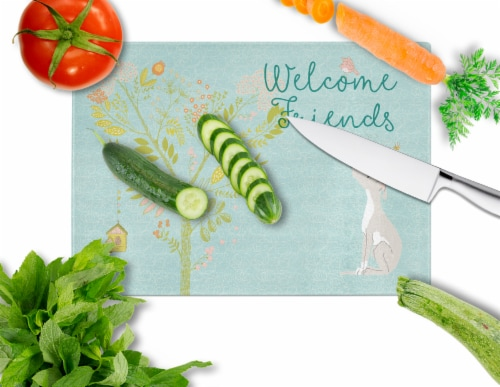 Welcome Friends Italian Greyhound Glass Cutting Board Large Perspective: back