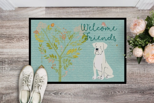 Welcome Friends White Boxer Indoor or Outdoor Mat 18x27 Perspective: back