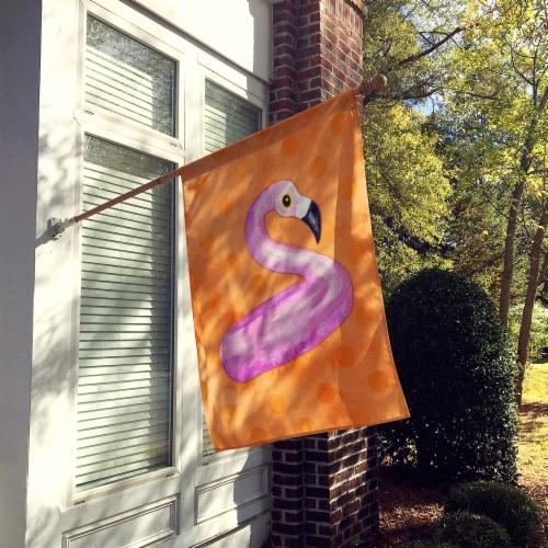 Flamingo Floaty Orange Polkadot Flag Canvas House Size Perspective: back
