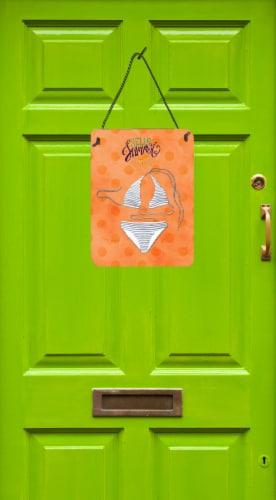 Bikini Swimsuit Orange Polkadot Wall or Door Hanging Prints Perspective: back