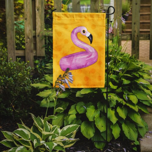 Carolines Treasures  BB8257GF Flamingo Floaty Yellow Polkadot Flag Garden Size Perspective: back