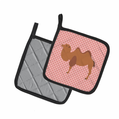 Carolines Treasures  BB7818PTHD Bactrian Camel Pink Check Pair of Pot Holders Perspective: back