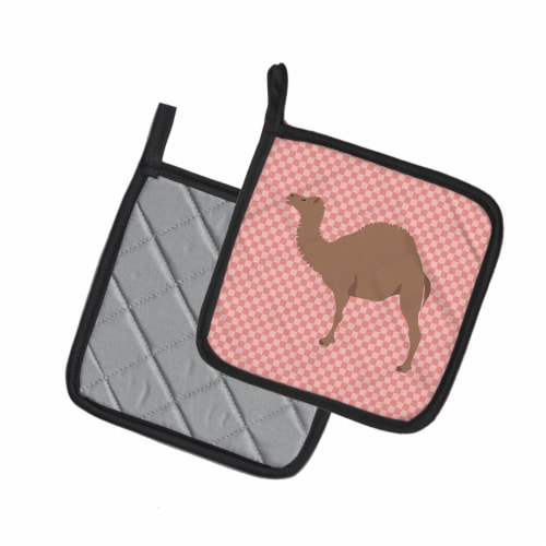 Carolines Treasures  BB7819PTHD F1 Hybrid Camel Pink Check Pair of Pot Holders Perspective: back