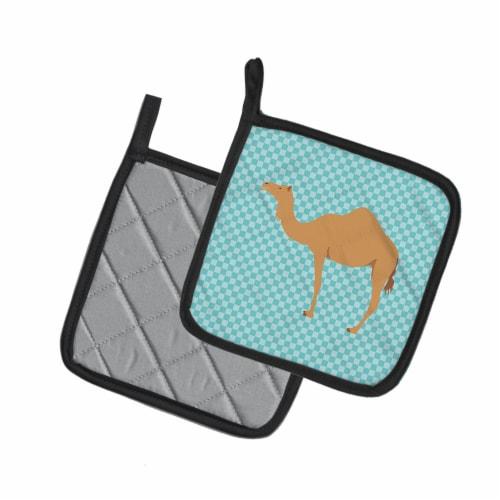 Arabian Camel Dromedary Blue Check Pair of Pot Holders Perspective: back
