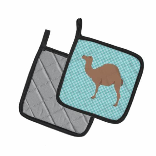 Carolines Treasures  BB7993PTHD F1 Hybrid Camel Blue Check Pair of Pot Holders Perspective: back