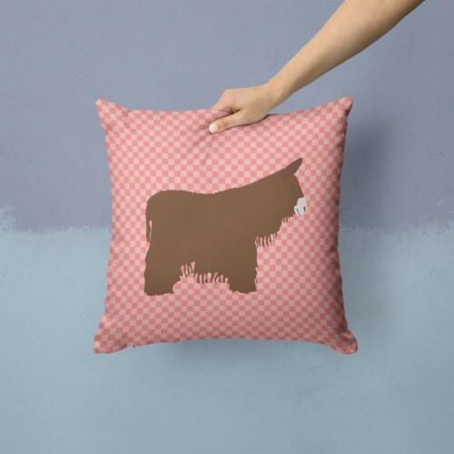 Poitou Poiteuin Donkey Pink Check Fabric Decorative Pillow Perspective: back